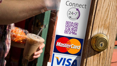 Connect24-7 Payment order reservation always open for business customer MasterCard Visa sticker front door shop window advertisement